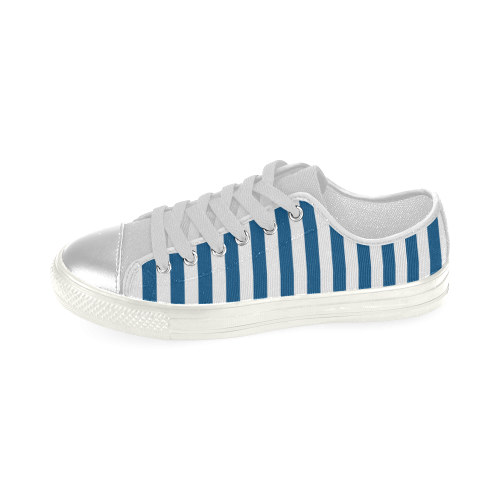 Blue & White Striped Women's Classic Canvas Shoes (Model 018)