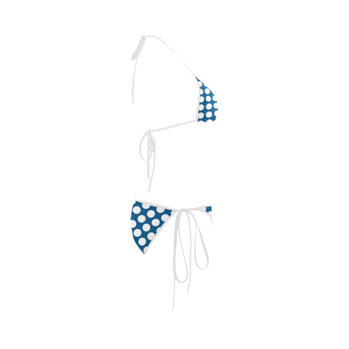 Bikini, White Polka Dots on Blue Custom Bikini Swimsuit
