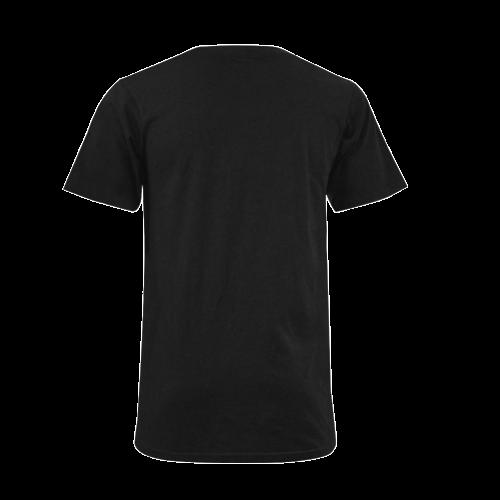 Catholic Holy Communion: Divine Mercy - Black Men's V-Neck T-shirt (USA Size) (Model T10)