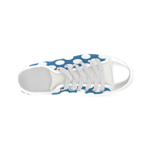 White Polka Dots on Blue Women's Classic Canvas Shoes (Model 018)
