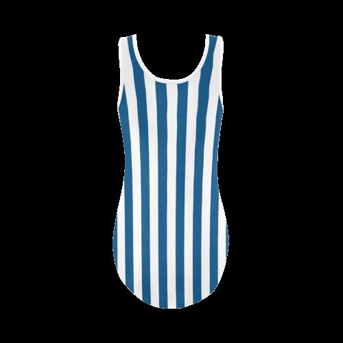 Swimsuit, Blue & White Stripes Vest One Piece Swimsuit (Model S04)