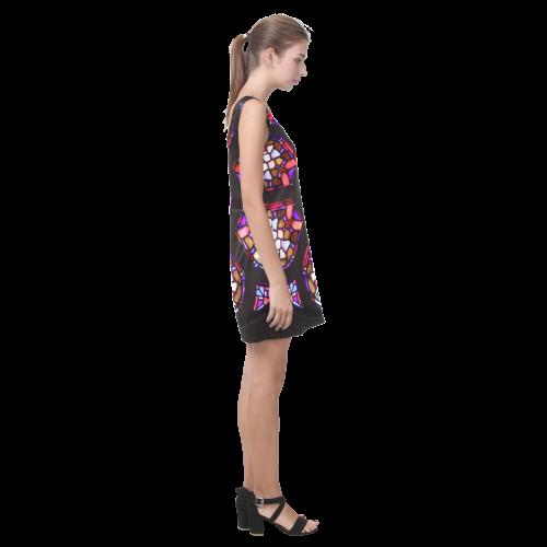 Purple Rosary Window Mandala Helen Sleeveless Dress (Model D10)