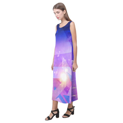 Purple Abstract Triangles Phaedra Sleeveless Open Fork Long Dress (Model D08)
