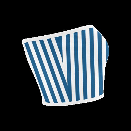Bandeau Top, Blue & White Stripes Bandeau Top