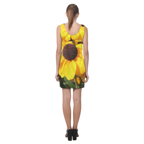 Yellow Flowers Helen Sleeveless Dress (Model D10)
