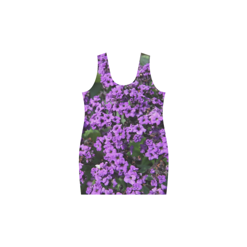 Purple Flowers Helen Sleeveless Dress (Model D10)