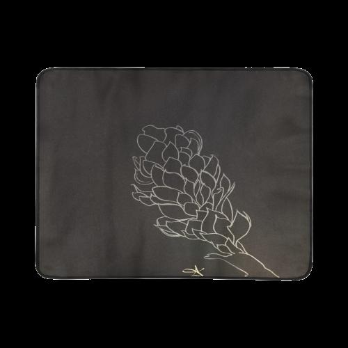 Alpinia Purpurata Red Ginger Flower Sketch Black Beach Mat 78 X 60 Id D623845