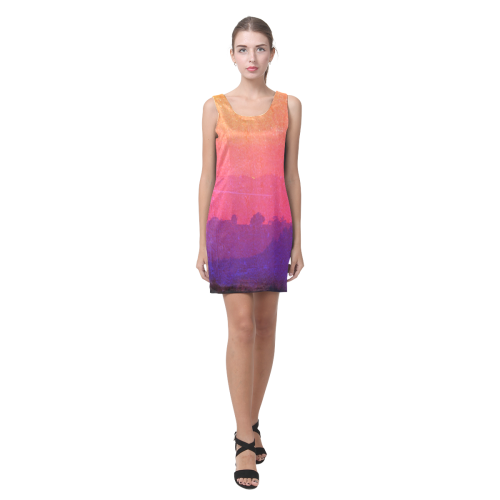 Orange Pink Purple Sunset Helen Sleeveless Dress (Model D10)
