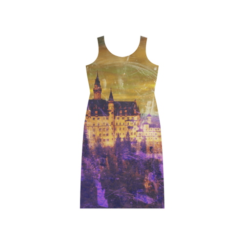 Yellow Purple Neuschwanstein Castle Phaedra Sleeveless Open Fork Long Dress (Model D08)