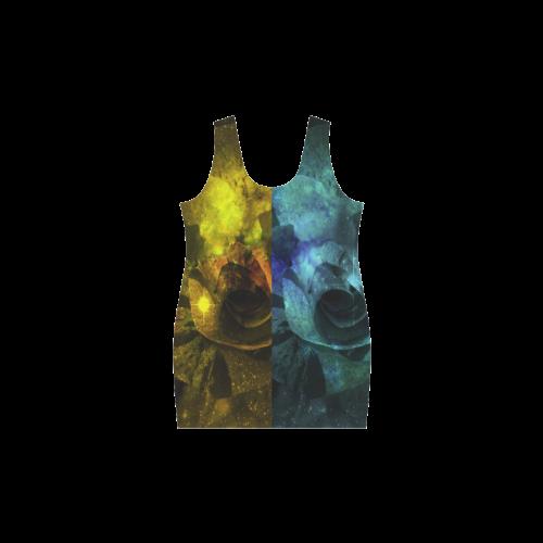Yellow and Blue Sparkling Rose Helen Sleeveless Dress (Model D10)