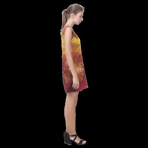 Lady Liberty Yellow Red Stars Helen Sleeveless Dress (Model D10)