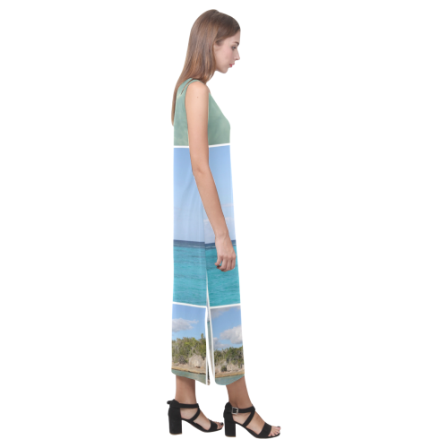Isla Saona Caribbean Photo Collage Phaedra Sleeveless Open Fork Long Dress (Model D08)