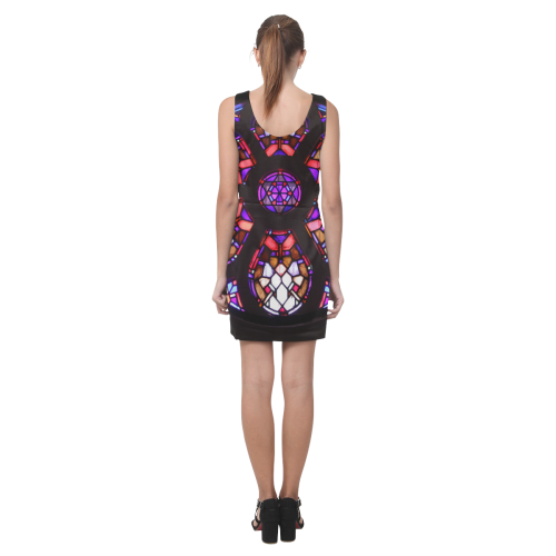 Purple Rosary Window Mandala Helen Sleeveless Dress (Model D10)