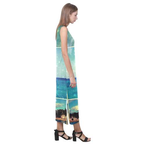 Starry Starry Caribbean Night Phaedra Sleeveless Open Fork Long Dress (Model D08)
