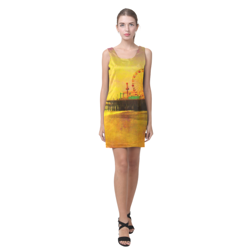 Yellow Purple Santa Monica Pier Helen Sleeveless Dress (Model D10)