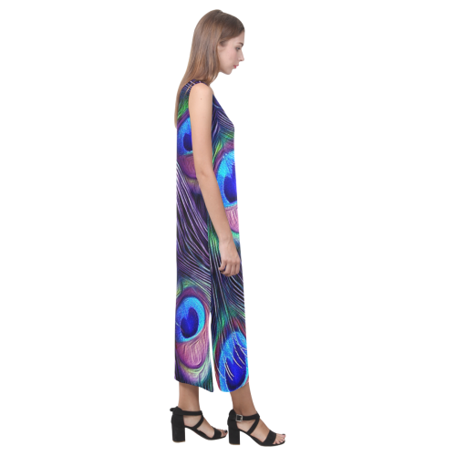 Peacock Feather Phaedra Sleeveless Open Fork Long Dress (Model D08)