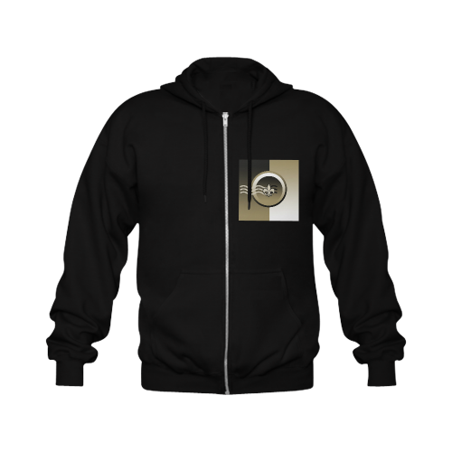 Black and Gold Gildan Full Zip Hooded Sweatshirt (Model H02)