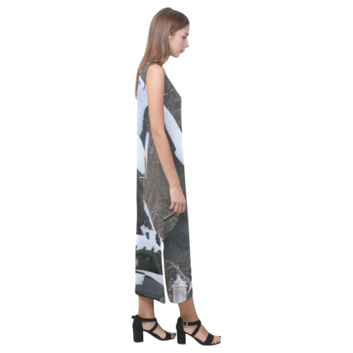NYC Snowy Winter Eagle Statue Phaedra Sleeveless Open Fork Long Dress (Model D08)
