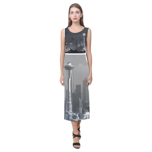 Grey Seattle Space Needle Collage Phaedra Sleeveless Open Fork Long Dress (Model D08)