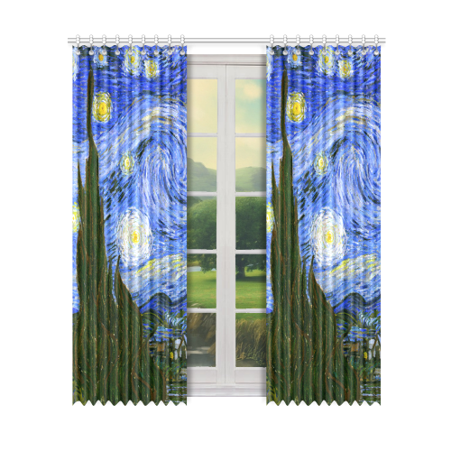 "Van Gogh Starry Night Tree Window Curtain 50"" x 96""(One Piece)"
