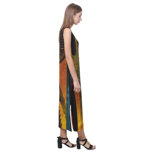 Seattle Space Needle Phaedra Sleeveless Open Fork Long Dress (Model D08)