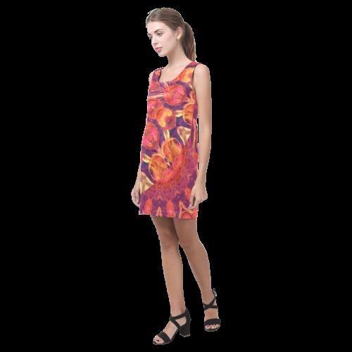 Sunburst, Abstract Peach Cream Orange Star Quilt Helen Sleeveless Dress (Model D10)