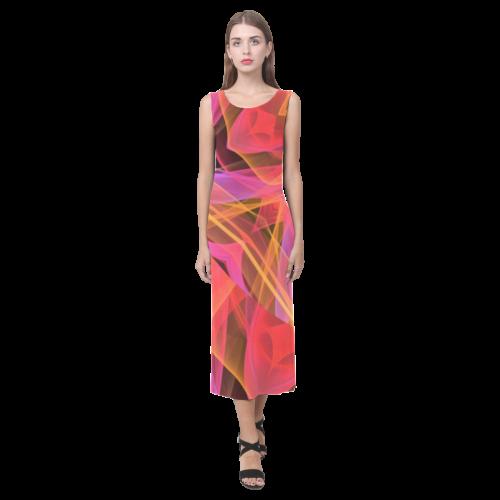 Abstract Peach Violet Mandala Ribbon Candy Lace Phaedra Sleeveless Open Fork Long Dress (Model D08)