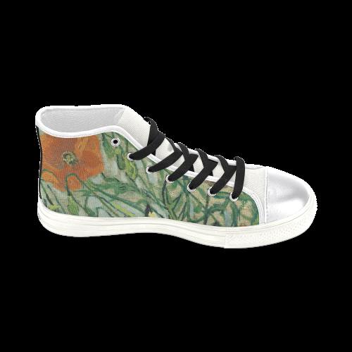 Van Gogh Poppies Butterflies Nature Women's Classic High Top Canvas Shoes (Model 017)