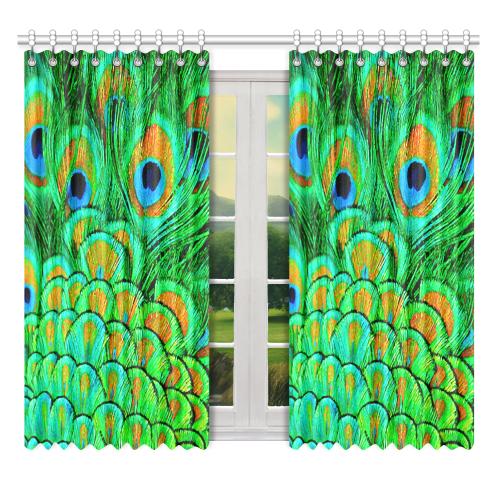 "Peacock Feathers Nature Art Window Curtain 52"" x 63""(One Piece)"