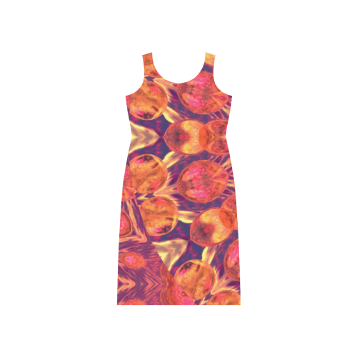 Sunburst, Abstract Peach Cream Orange Star Quilt Phaedra Sleeveless Open Fork Long Dress (Model D08)