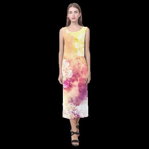 Watercolor LOTUS MANDALA Pattern - grunge style Phaedra Sleeveless Open Fork Long Dress (Model D08)