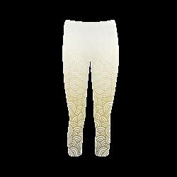 4dbe4b4b1d3732 Gradient yellow and white swirls doodles Capri Legging (Model L02)