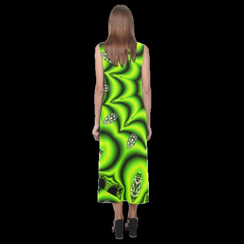 Spring Lime Green Garden Mandala, Abstract Spirals Phaedra Sleeveless Open Fork Long Dress (Model D08)