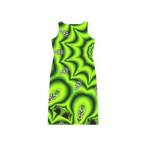 Spring Lime Green Garden Mandala, Abstract Spirals Phaedra Sleeveless Open Fork Long Dress (Model D08)