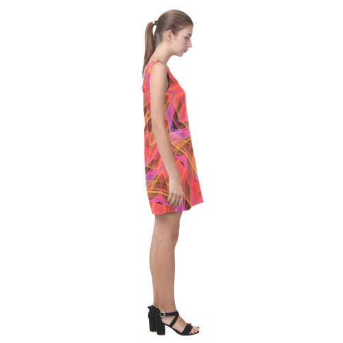 Abstract Peach Violet Mandala Ribbon Candy Lace Helen Sleeveless Dress (Model D10)