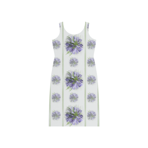 Small Purple Flowers with green lines Phaedra Sleeveless Open Fork Long Dress (Model D08)