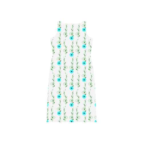 Aqua Flowers Dress Phaedra Sleeveless Open Fork Long Dress (Model D08)