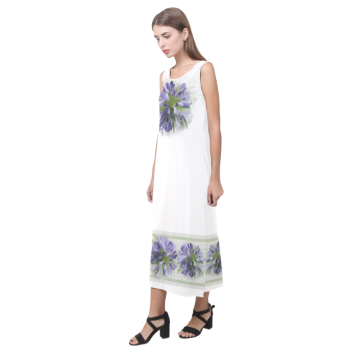Purple Flowers, green lines Phaedra Sleeveless Open Fork Long Dress (Model D08)