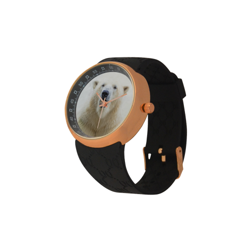 Cute  Zoo Polar Bear Men's Rose Gold Resin Strap Watch(Model 308)