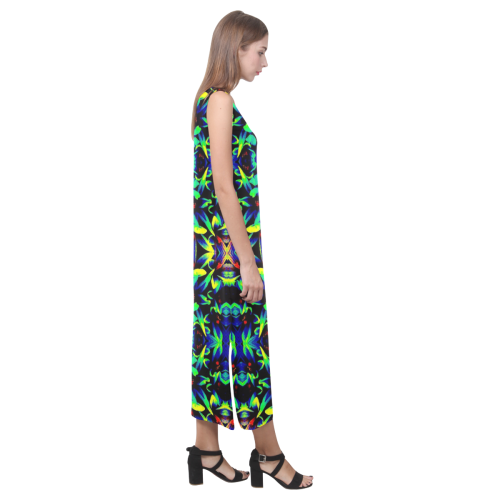 Cool Green Blue Yellow Design Phaedra Sleeveless Open Fork Long Dress (Model D08)