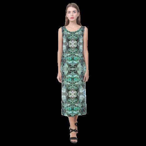 Green Black Gothic Pattern Phaedra Sleeveless Open Fork Long Dress (Model D08)