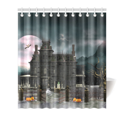 A Creepy Darkness Halloween Haunted House Shower Curtain