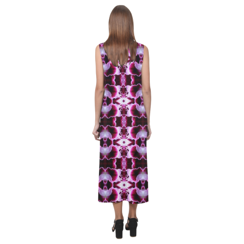 Purple White Flower Abstract Pattern Phaedra Sleeveless Open Fork Long Dress (Model D08)