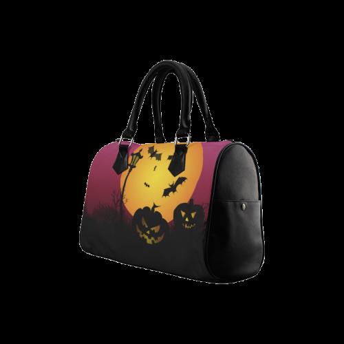 Spooky Halloween pumpkins and bats in pink Boston Handbag (Model 1621)