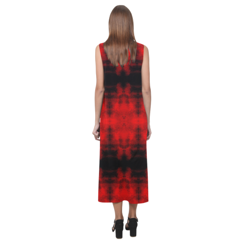 Red Black Gothic Pattern Phaedra Sleeveless Open Fork Long Dress (Model D08)