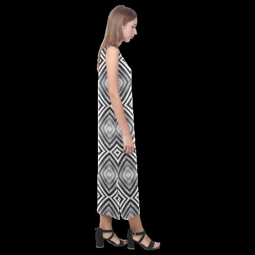 black and white diamond pattern Phaedra Sleeveless Open Fork Long Dress (Model D08)