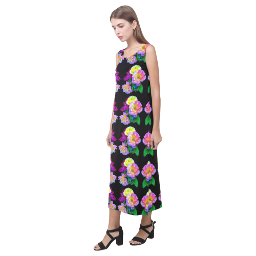 Rosa Yellow Roses on Black Pattern Phaedra Sleeveless Open Fork Long Dress (Model D08)