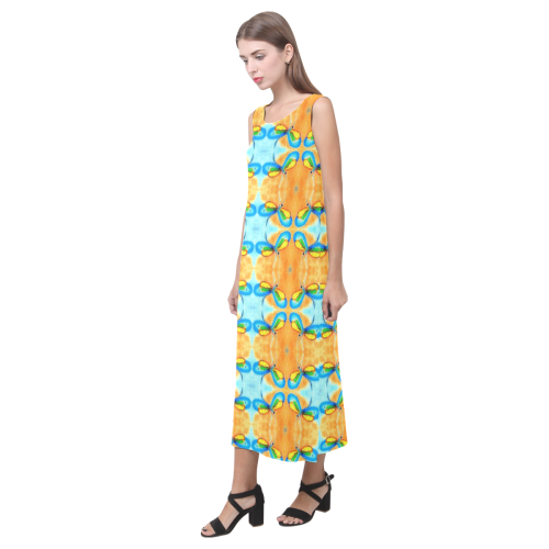 Dragonflies Summer Pattern Phaedra Sleeveless Open Fork Long Dress (Model D08)
