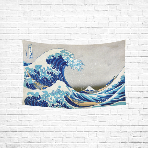 "Great Wave Off Kanagawa Hokusai Cotton Linen Wall Tapestry 60""x 40"""