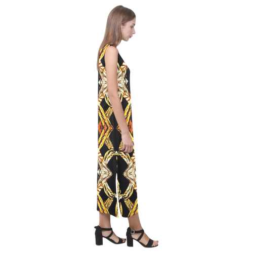 Elegant Oriental Pattern Black Gold Phaedra Sleeveless Open Fork Long Dress (Model D08)